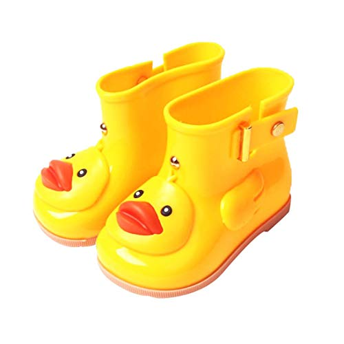 Euaoqi Cartoon Cute Duck Rain Boots for Kids, Infant Baby Cartoon Duck Rubber Rain Shoes Children Waterproof Warm Boots