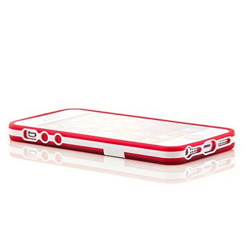 Saxonia Apple iPhone SE 5 5S Hülle Case Slim Silikon Schutzhülle Back Cover Silikonhülle mit Standfuß Gelb Rot