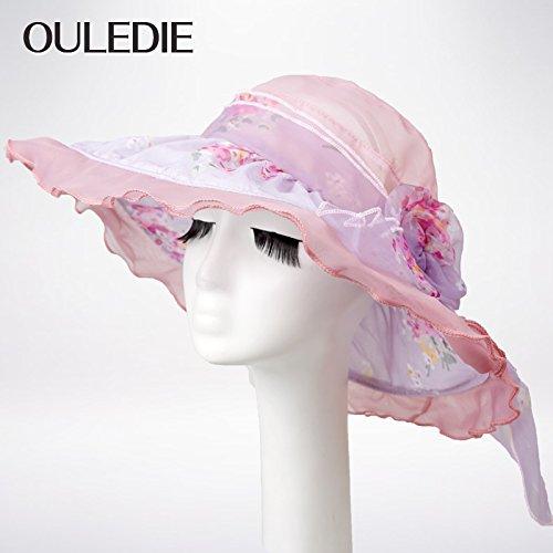 Voile d'été chapeaux Princesse marée coréen gaze chapeaux Chapeau élégant, l'été , or Pink