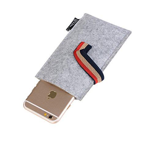 Téléphone Mobile, Felt Case Gris / Fur pour Samsung Galaxy, Huawei, Xiaomi, HTC, LG, Sony, Nokia, iPhone jusqu'à 5 pouces avec Fastener ( Color : Gray ) Light Gray