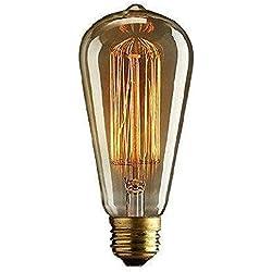 CMYK Bombilla Edison Vintage Incandescente E27 40W - 65mm Retro Antigua Filamento Carbono
