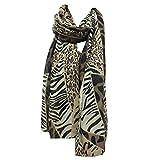 JAGENIE 180x90cm Women Girls Voile Long Shawl Elegant Leopard Grain Zebra Striped Printed Scarf Beachwear Wrap Lightweight Spring Autumn Pashmina 1