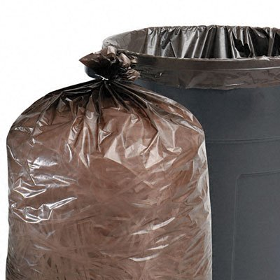 Stout Total Recycled Content Trash Bags, 65 Gallons, 1.5 Milliliters, 50 x 51, Black/Brown, 100/Carton (T5051B15)