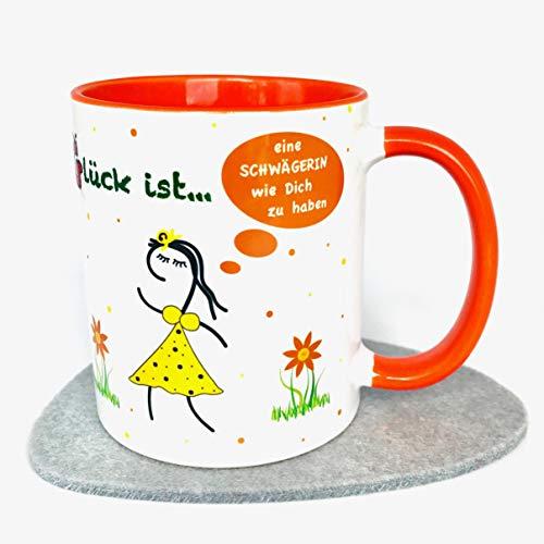 UKo-Art®, Geschenk-Idee für Schwägerin, Tasse mit Spruch: Glück ist eine Schwägerin wie Dich zu haben, Kaffee-Becher, Glücks-Tasse, versandfertig Und Ist Aus Keramik