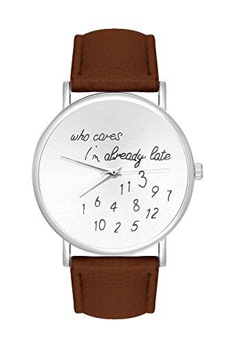 Damenuhr Armbanduhr Damen Unisex Herrenuhr Quarzuhr Trenduhr Design Uhr Farbe Silber mit Schriftzug