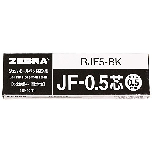 ZEBRA Refill for Gel Ink Ballpoint Pen SARASA (JF-0.5) [Black] x 10 pieces (Japan Import)