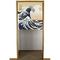 """Narumi narumikk Noren (cortina japonesa) """"ola Hokusai 85x 90cm 14–201de Japón"""