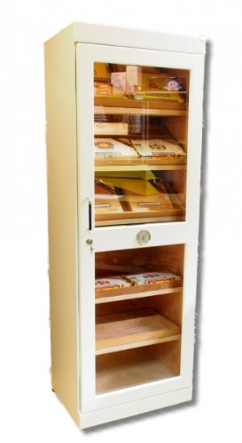 Humidor Schrank Roma White Edition inkl. elektr. Befeuchter