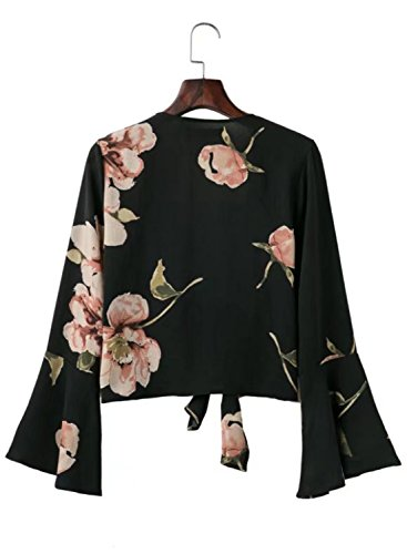 Futurino Damen Blumendruck Tauch V-Ausschnitt Selbstbindungs Bogen Blusen Schwarz
