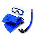 Yosoo bambini occhiali da nuoto in silicone Diving Set immersione pinne + BOCCAGLIO Scuba Diver Occhiali + Maschera boccaglio silicone Set per 3-6anno Bambino portatili di dimensioni: 25-30, Blau