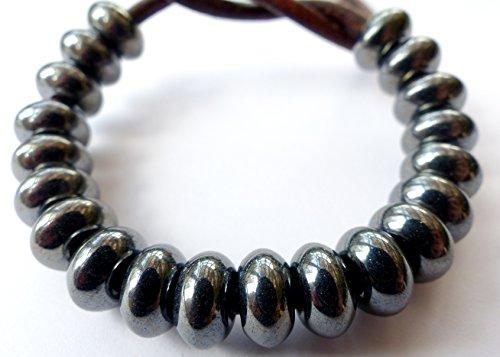 Rondelle (20pezzi) x 11mm donut piatto rotondo foro grande anello distanziale ceca perle di vetro-ematite rivestito-H026
