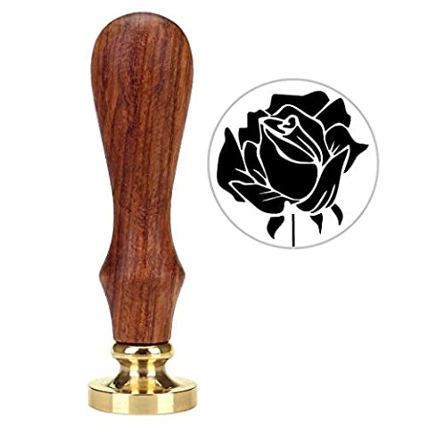 Mogoko Rosenholz achs Siegelstempel Dekorativer Siegel Petschaft Holzgriff Brief Personalisierte Segen(Rose-3)