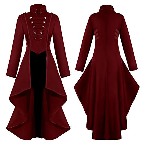 TianranRT Frauen Mantel,Fashion Steampunk Gothic Jacke Mit Spitze,Spitzenkorsett,Halloween Kostüm,Mantel,Schwanz Jacke,Rot(3L) (Kostüm Mit Roten Jacken)