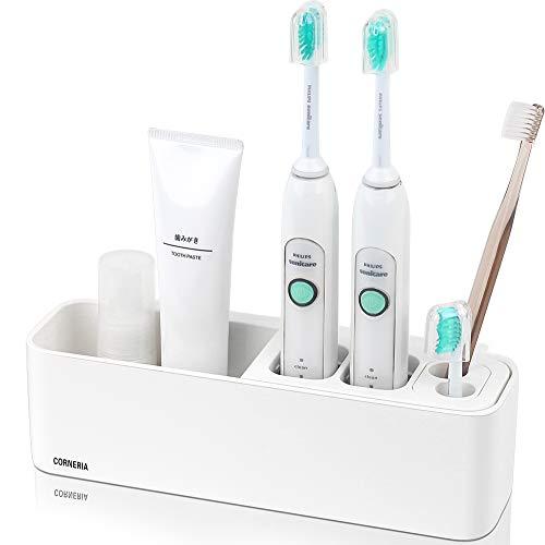 Corneria porta spazzolini per spazzolini elettrici porta spazzolino bagno da parete - poliresina bianco semplice