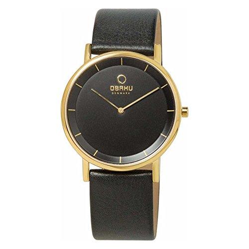 Obaku Harmony–v143gbbrb–Montre de Poignet pour homme, bracelet en cuir noir