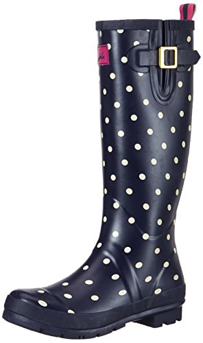 Joules Women's Welly Print Wellington Boots, Blue (Navy Spot), 3 Uk 36 Eu