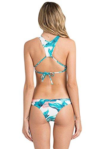 Damen Bikini Bustier Neck-Top Bademode Badeanzug Neckholder Zweiteiler Slip Top Cut Outs Palmen Weiß