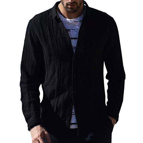 DNOQN Shirts Männer Poloshirt Slim Fit Sport Langarmshirt Herren Baggy Baumwolle Leinen Solide Langarm Knopf Retro T Shirts Tops Bluse XXL (Uhr Wels)