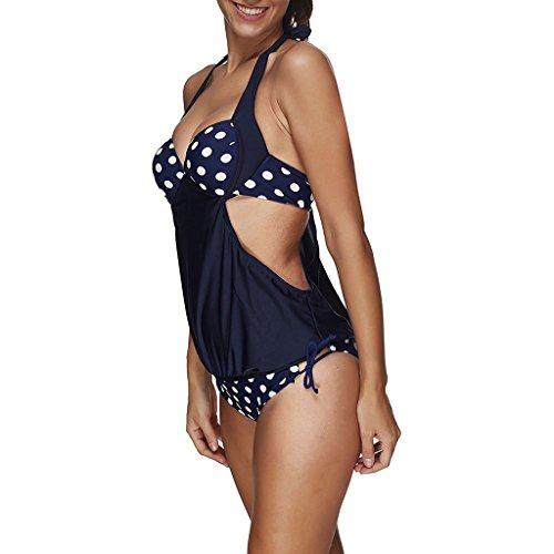 Eagsouni® Damen Bikini Set Polka Dot zweiteilig Tankini Bademode Badeanzug Schwimmanzug Strand Sport Beachwear Oberteile + Höschen Blau