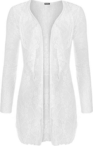 WearAll - Damen Übergröße floralen schnüren öffnen cardigan langarm wasserfall Top - Weiß - 48-50
