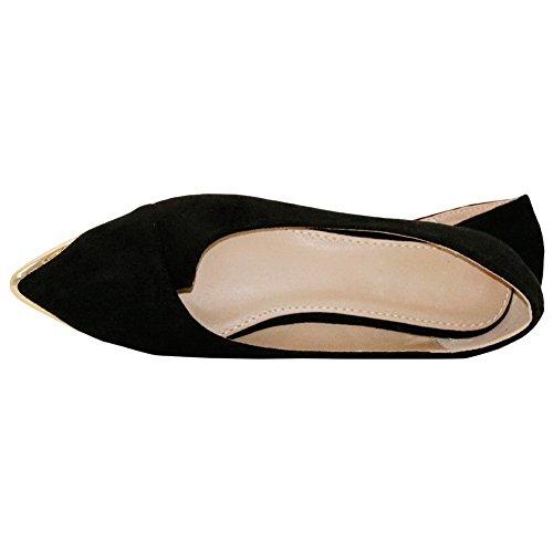 AalarDom Femme Suédé Couleur Unie Dépolissement Tire Pointu Non Talon Chaussures à Plat Noir-Métal