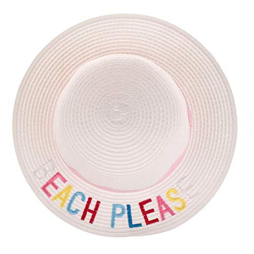 Kinder Fedora Hut mit Brief Stickerei Sonnenhut Lonshell Faltbarer Strohhut Mütze für 3-12 Jahre altes Baby Strand Sonnenhut mit Sonnenschutz breite Krempe (H) Mit Fedora