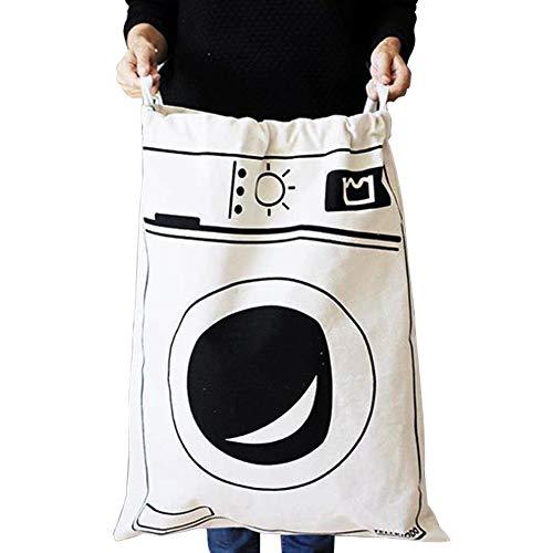 Fyore Extra grande lienzo bolsa de almacenamiento resistente cordón algodón lino shabby chic lavandería lavado bolsa 65* 45cm