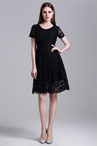 Minetom Damen Elegant Kleider Kurzarm Spitzenkleid Cocktailkleid Knielanges  Vintage Sommer Mini Kleid Abendkleid Schwarz
