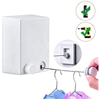 Drying Lines for Clothes, No Drilling Washing Line 20kg 4.2m Wall Mounted Drying Line with Adjustable Stainless String Heavy Duty Durable for Hotel Bathroom Balcony Clothes Quilt with Glue and Screw