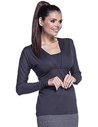 Zeta Ville - Top doble capa lactancia 2 en 1 cuello de pico - para mujer - 266c (Grafito, EU 44/46, XL)