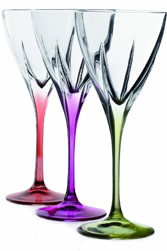 Fusion Crystal Multicolor Water Goblet Set by RCR Crystal Crystal Water Goblet