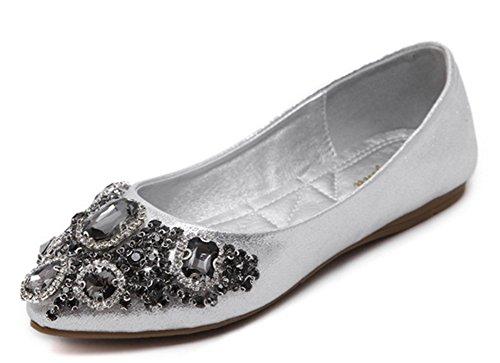 Aisun Damen Strass Spitz Zehe Geschlossen Low Top Loafers Flats Slippers Silber