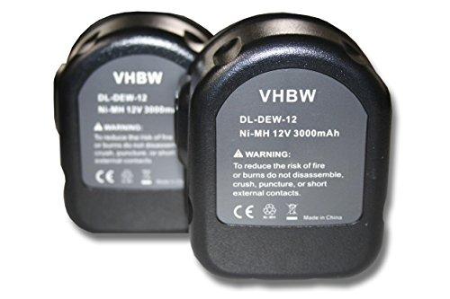 Vhbw 2x Ni-MH batería 3000mAh 12V herramientas DE9075