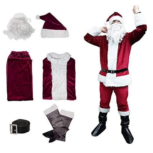 Udyr Herren Weihnachten weihnachtsmann Anzug, Santa kostüm vollbart, Weihnachten Klassische Flanell Cosplay Kleidung XXLarge Dark Rot (Halten Sie Es Sauber Für Erwachsenen Kostüm)