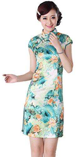Smile YKK Femme Robe Courte Cheongsam Coton Lotus Turquoise