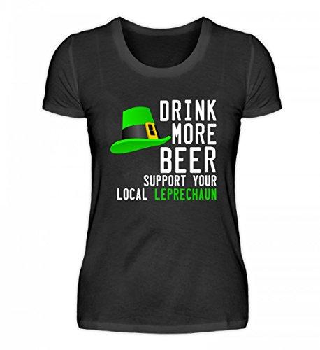 PlimPlom Hochwertiges Damenshirt - St. Patricks Day Kobold Bier Design (Bier Grünes T-shirt Humor)