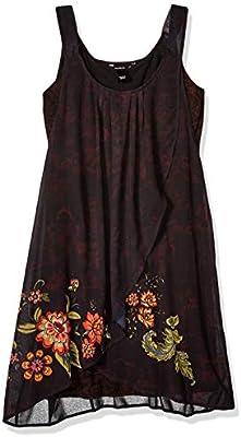 Desigual Dress Straps Julie Woman Black Vestido, (Negro 2000),  para Mujer