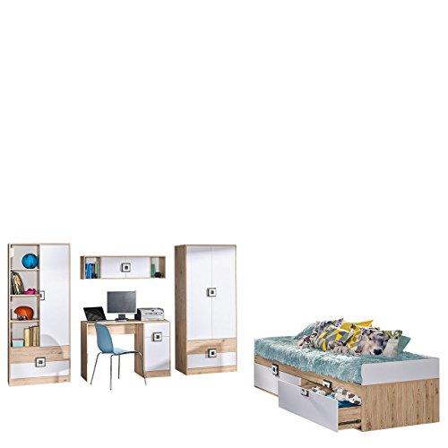Mirjan24  Jugendzimmer Set Nicola III, 4-TLG. komplett, Griffe Farbauswahl, Drehtürenschrank, Regal, Schreibtisch, Wandregal, Kinderbett (Eiche Hell/Weiß + Asche) - Asche-möbel