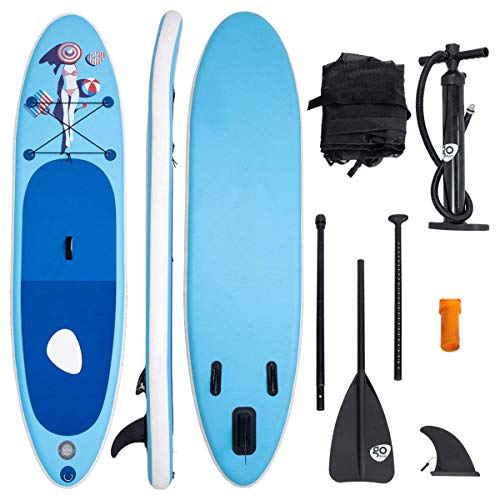 COSTWAY Sup-Board Paddelboard Surfboard Paddelbrett Stand Up Board Set 305 x 76 x 15cm aufblasbar