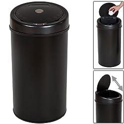 TecTake Papierkorb / Mülleimer mit Öffnungssensor–verschiedene Größen Negro 50L | No. 400827