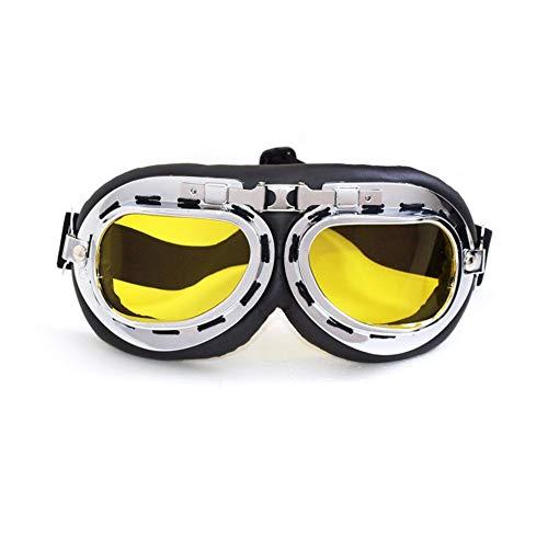 SummShine Vintage PU Leder Motorrad Schutzbrille Motorradbrille Cruiser Fliegerbrille Motocross Brille (Gelb)