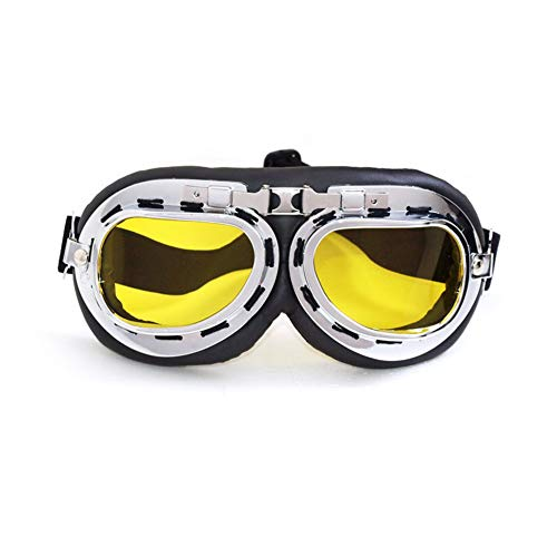 SummShine Vintage PU Leder Motorrad Schutzbrille Motorradbrille Cruiser Fliegerbrille Motocross...