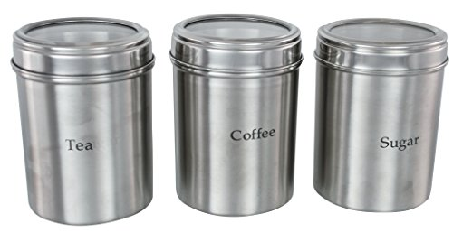 Buckingham - Botes de almacenamiento para té, café y azúcar (10,5 cm de diámetro x 16,6 cm, acero inoxidable, tapa acrílica, 3 unidades), color plateado