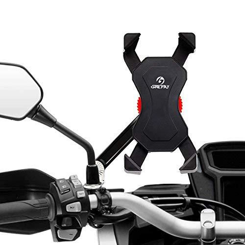 Grefay Motorrad Handyhalterung Universal Smartphone Halterung für Motorrad Rückspiegel 360°Drehbare für 3,5-6,5 zoll Smartphone -