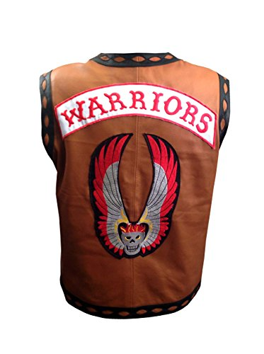 The Warriors Movie Elegante gilet giacca di pelle bicicletta Riders Halloween costume Brown L