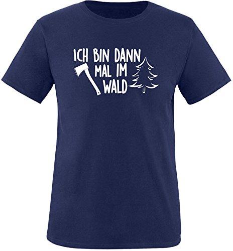EZYshirt® Ich bin dann mal im Wald Herren Rundhals T-Shirt Navy/Weiss