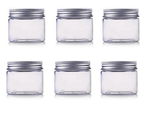 erioctryJuego de 6 recipientes vacíos de plástico PET, con tapa de aluminio plateado, 50/100/150 g, para cosméticos, cremas, maquillaje, ,  115G,  Transparente,, ]