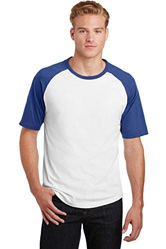 Colorblock Raglan-jersey-shirt (Sport-Tek® Short Sleeve Colorblock Raglan Jersey. T201 White/ Royal M)