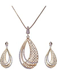Pushti Gold Brass Pendant Set For Women (PF_011)
