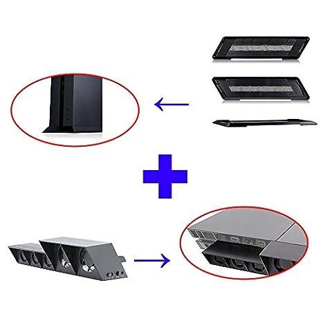 QUMOX Ventilateur de refroidissement externe - Turbo Cooler Noir et support de support Kit de base pour SONY Playstation 4 PS4